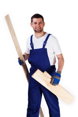 Handyman with floor panels