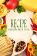 Paper for recipes, spaghetti with vegetables and spices,