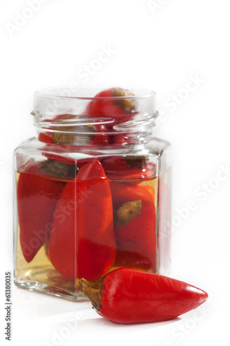 Jar with chilli peppers