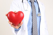 Male Doctor with red heart in his hands, isolated
