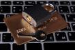 Credit card and lock on keyboard close up