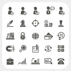 Business, Human resource and Finance icons set