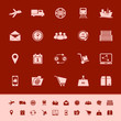 Logistic color icons on red background