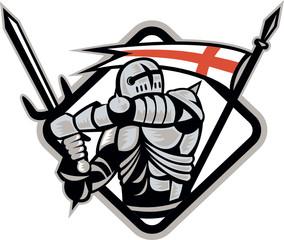 English Knight Fighting Sword England Flag Retro