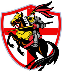 English Knight Lance England Flag Shield Retro