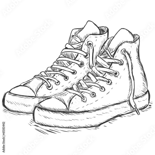 vector sketch illustration - hip-hop gumshoes