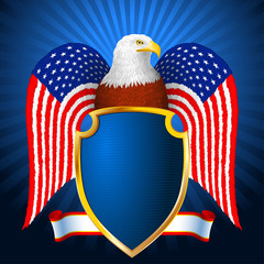 American Eagle Flag Wing Shield; Eps8