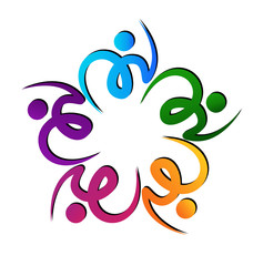 Teamwork swooshes flower logo vector