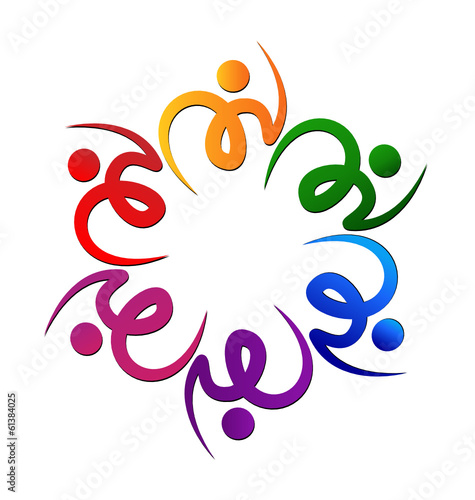 Teamwork colorful swooshes flower shape vector