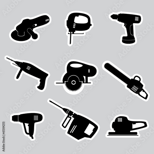power tools stickers set eps10
