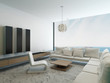 Modern white living room with floor to ceiling window