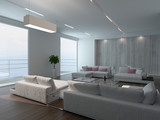Modern living room interior with concrete wall