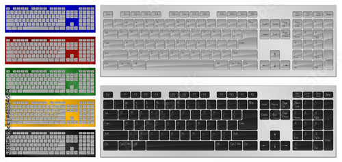 Art of keyboard with 104 keys in 7 colors