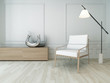 3D Rendering of white chair in a  sunny room with floor lamp