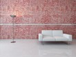 A 3D Rendering of white couch against red wall