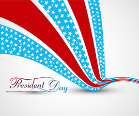 President Day in United States of America with wave colorful bac