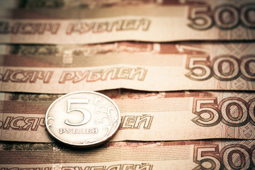 Five and five thousand russian rubles. Toned image.