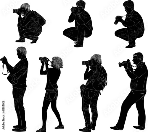 seven photographer silhouettes isolated on white