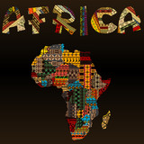 Africa map with African typography made of patchwork fabric text