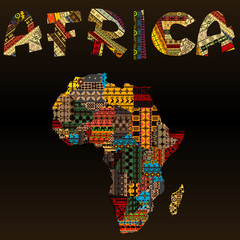 Africa map with African typography made of patchwork fabric text © hibrida