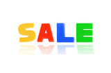 SALE written In Multicolored Plastic Kids Letters