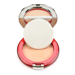 powder, puff and powder-cases with a mirror