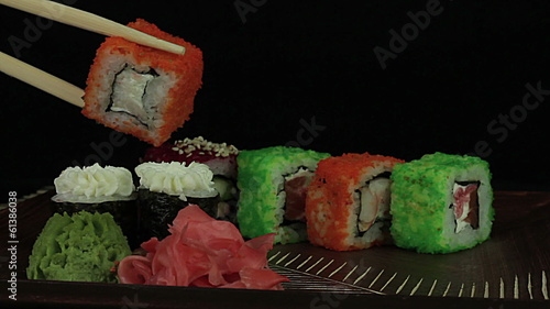 Sushi on a black background