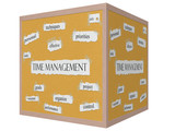 Time Management 3D cube Corkboard Word Concept