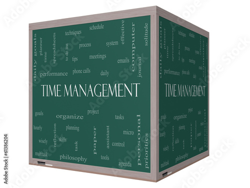 Time Management Word Cloud Concept on a 3D cube Blackboard