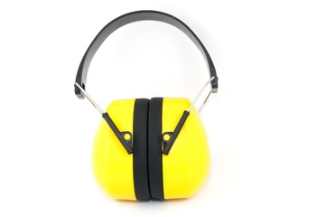 Hearing protection yellow ear muffs