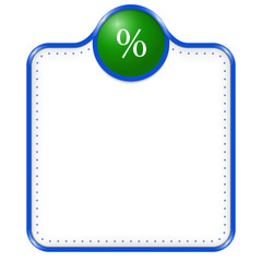blue vector box for text with percent sign