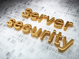 Safety concept: Golden Server Security on digital background