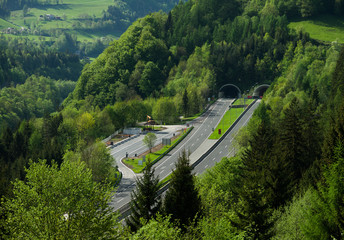 Beautiful view of mountains and autobahn, Austria
