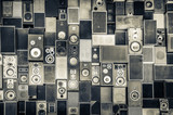 Fototapety Music speakers on the wall in monochrome vintage style