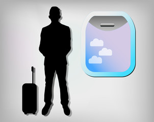 Illustration of business man with airplane window