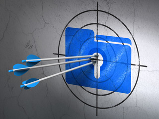 Business concept: arrows in Folder With Keyhole target on wall