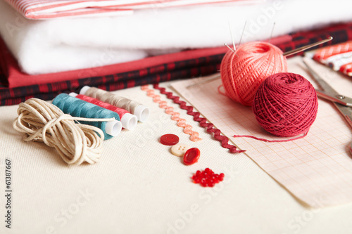 Materials for needlework.