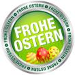 """Button """"Frohe Ostern"""" Ostereier grün/rot/silber"""