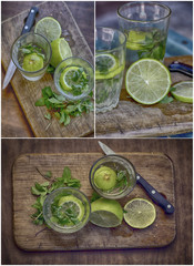 preparation of alcoholic cocktail with lime and rum