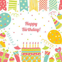 Template for Happy birthday card with place for text.