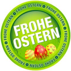 """Button """"Frohe Ostern"""" Ostereier grün/rot"""