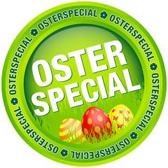 """Button """"Osterspecial"""" Ostereier grün/rot"""