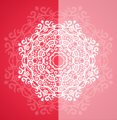 Ornamental round red lace pattern