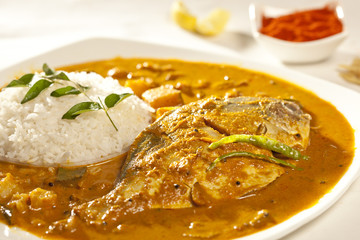 Fish curry with rice.