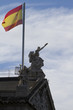 National Library in Madrid. Spain. Spanish flag