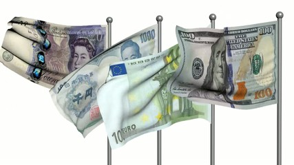 banknotes flags3d animation on white background
