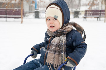Smiling little boy sitting in the sledge