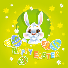 Vector Easter bunny green background