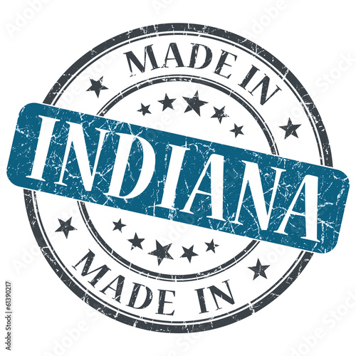 made in Indiana blue round grunge isolated stamp