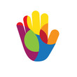Vector logo hand with colored circles